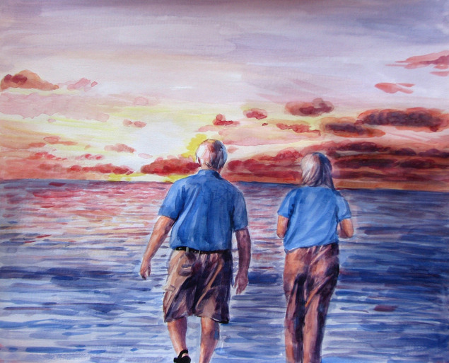 custom watercolor painting of older couple by the beach