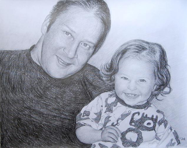 Peinture de bébé et papa