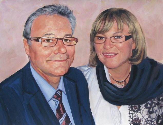 couple portrait painted from a  photo