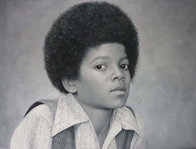 a black and white portrait of michael jackson