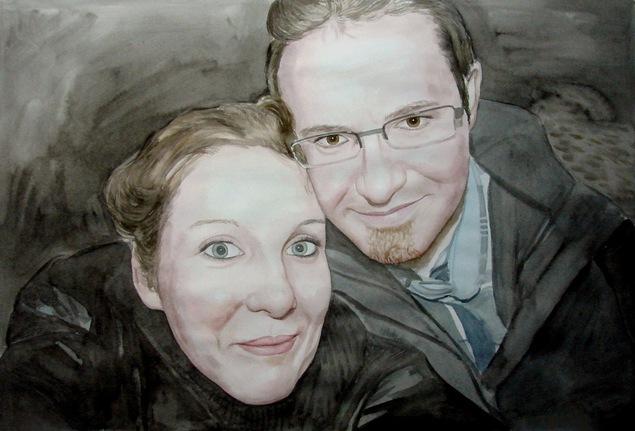 portrait de couple en peinture
