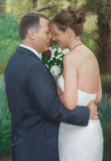 an oil painting of wedding couple hugging outdoors