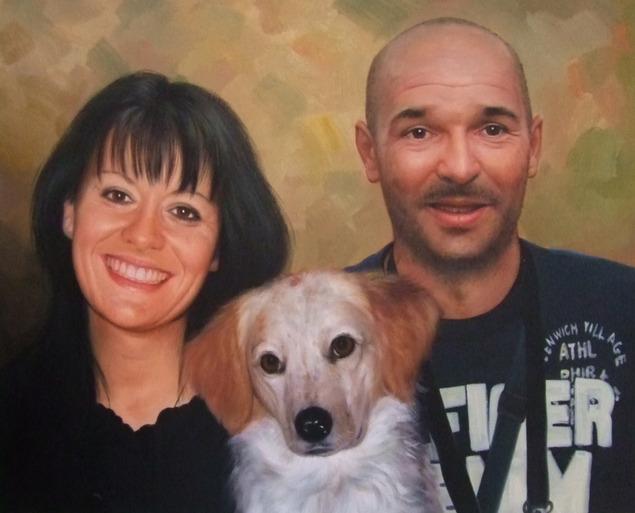 coppia con il loro cane come pittura ad olio