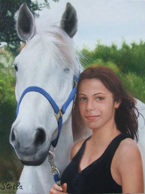 Portrait de femme avec cheval