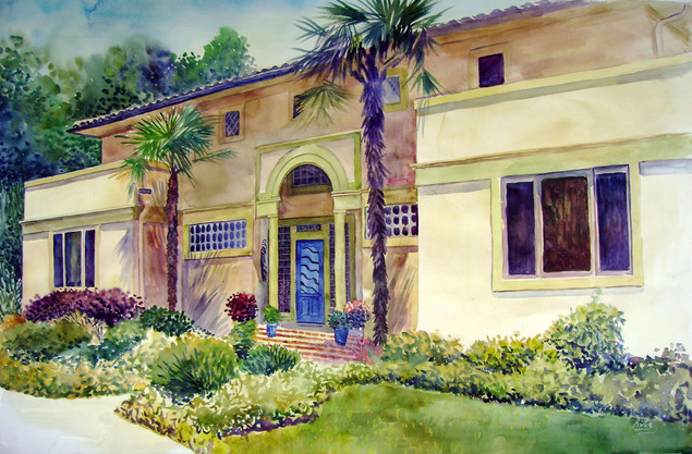 custom watercolor painting of a yellow house