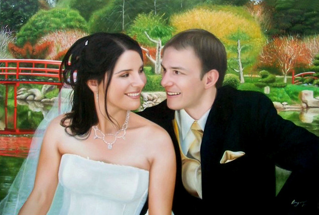 wedding oil painting from photo
