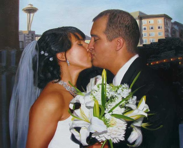an oil paitning of a wedding couple kissing in seatle