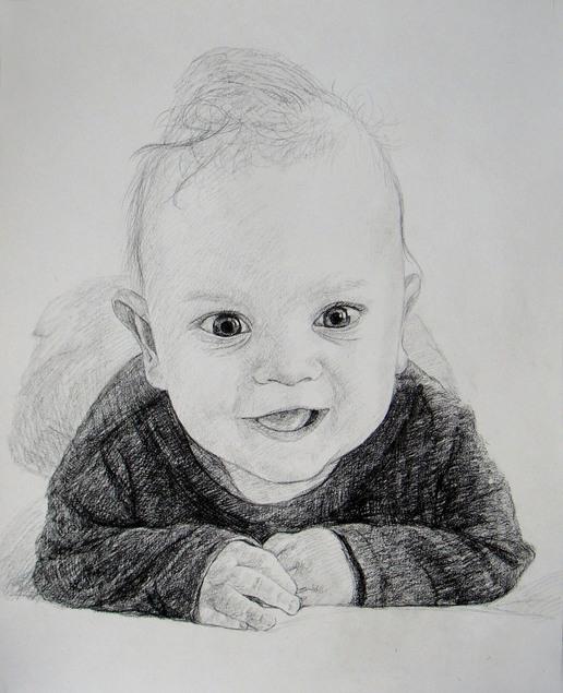 Kohlezeichnung eines Jungen
