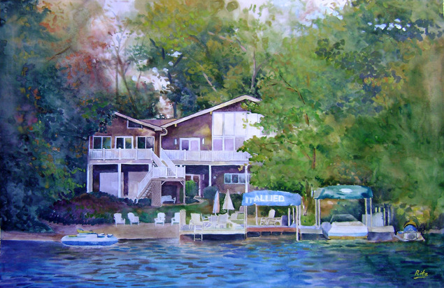 custom watercolor painting of a house by the lake