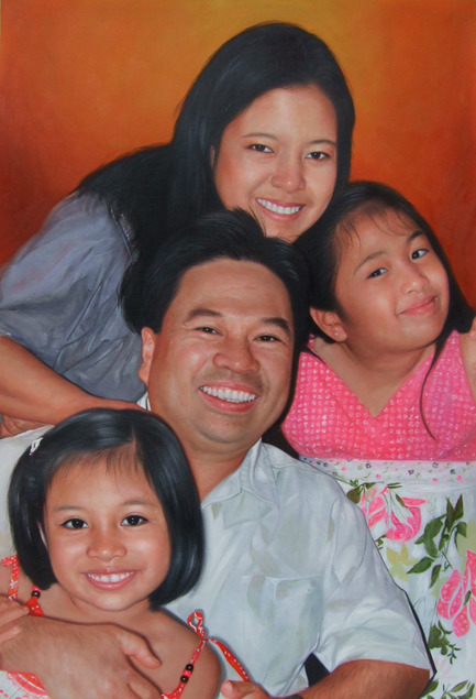 a custom oil paintng of asian family