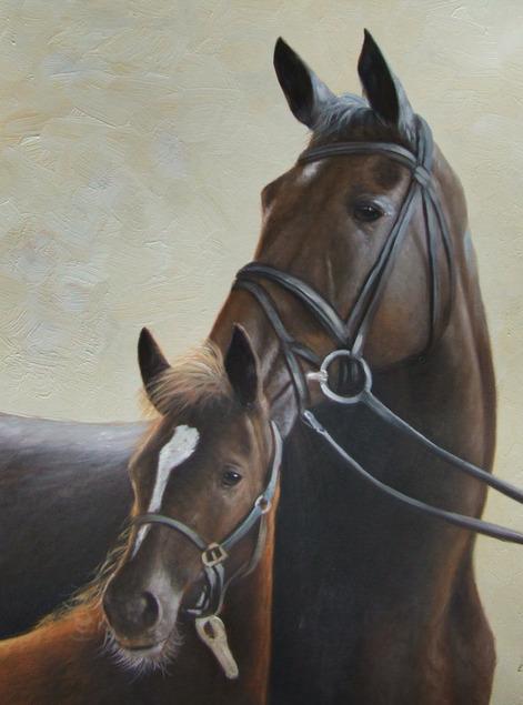 Due cavalli madre e figlio olio da fotografia