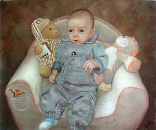 enfant photo que la peinture à l'huile