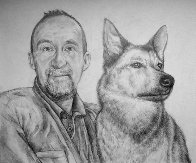 custom  pencil drawing of a man with his dog