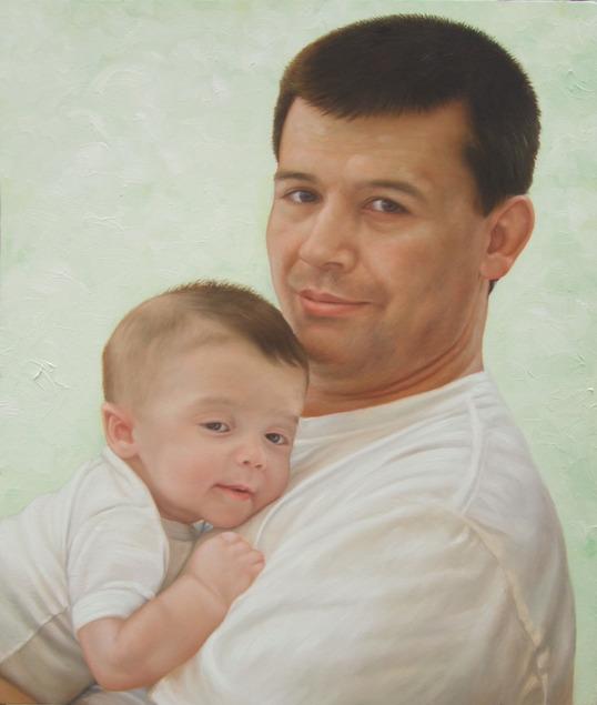 artiste peintre papa et bébé