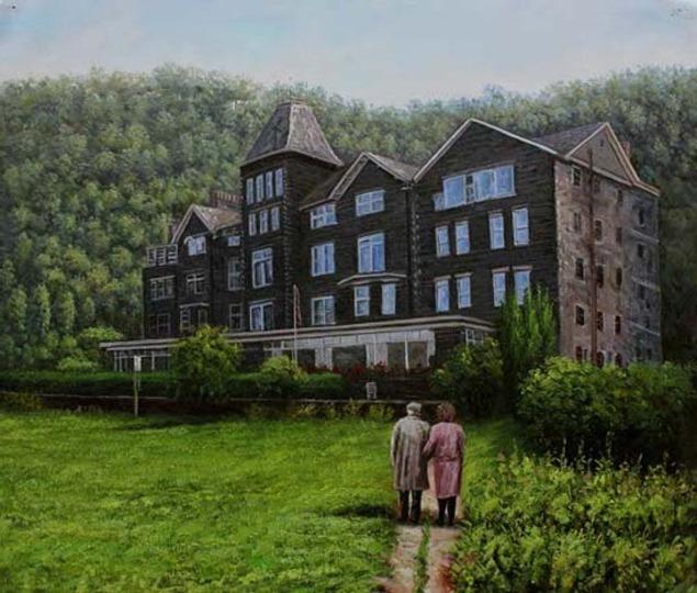 Handmade oil painting large dark grey house