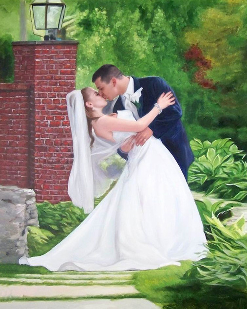 an oil painting of groom kissing the bride outdoors