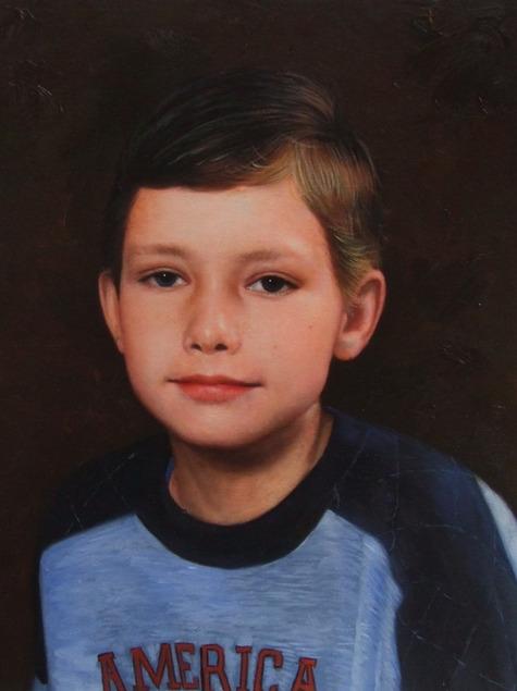 foto van een kind als olieverfschilderij