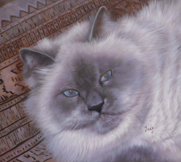 close up pet painting of grey cat with blue eyes