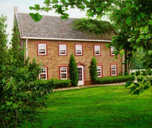 Handmade oil painting brown house greenary