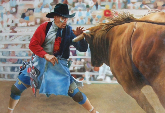 picture to painting of bullfighter in the ring