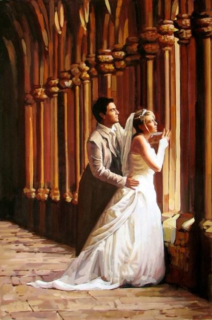 Hochzeitsfoto als Pastellgemälde