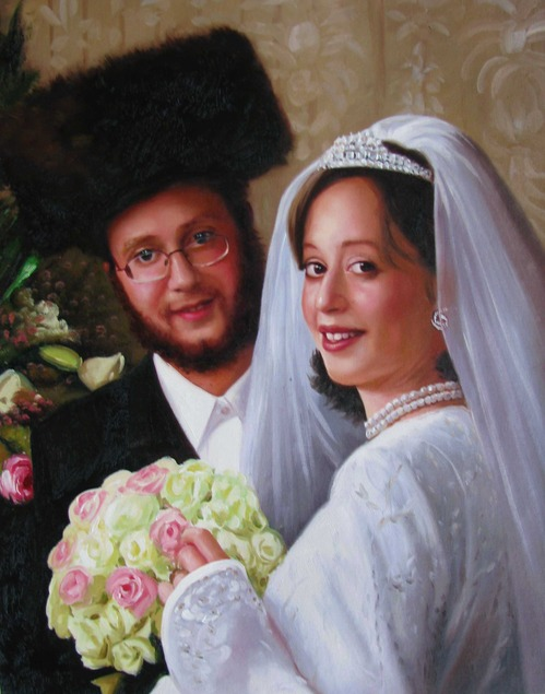 an oil painting of jewish couple