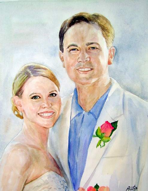 custom watercolor painting of bride and groom