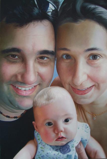 ritratto di famiglia olio da fotografia