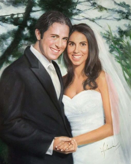 a custom oil painting of a couple holding hands