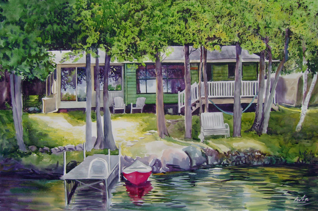 custom watercolor painting of a lakehouse by dock