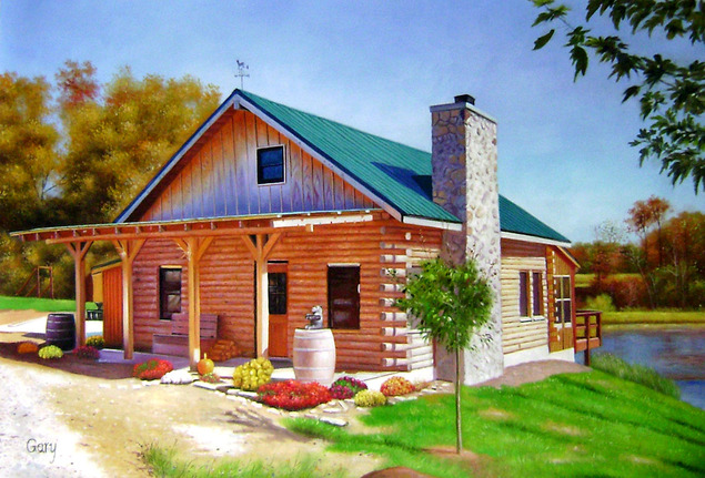Custom oil handmade painting wooden house
