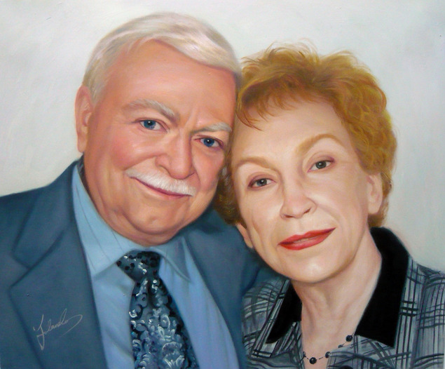 photo to art oil canvas elder white couple