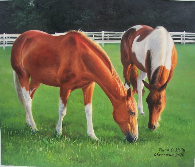 2 horses in the field - oil portrait