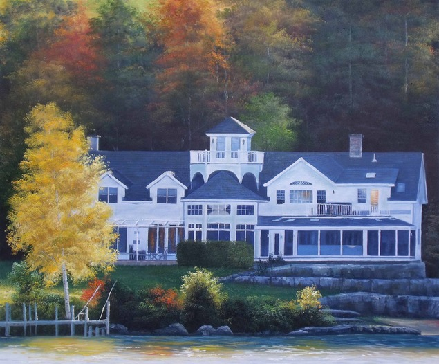 Custom oil painting of a mansion by the lake