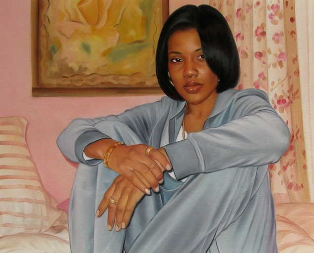 a custom portrait of young black female in grey suit