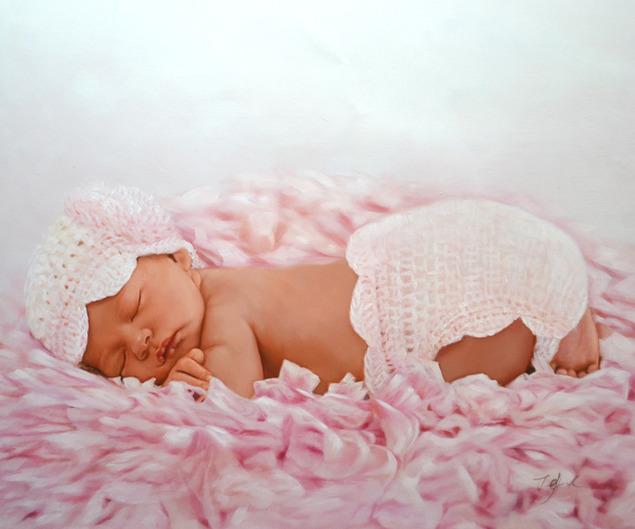 a custom oil painting of little child sleeping