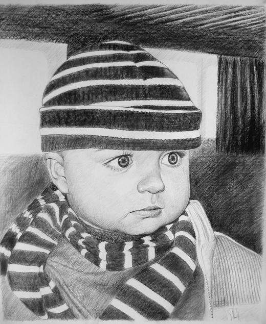 Kohlezeichnung eines Babies