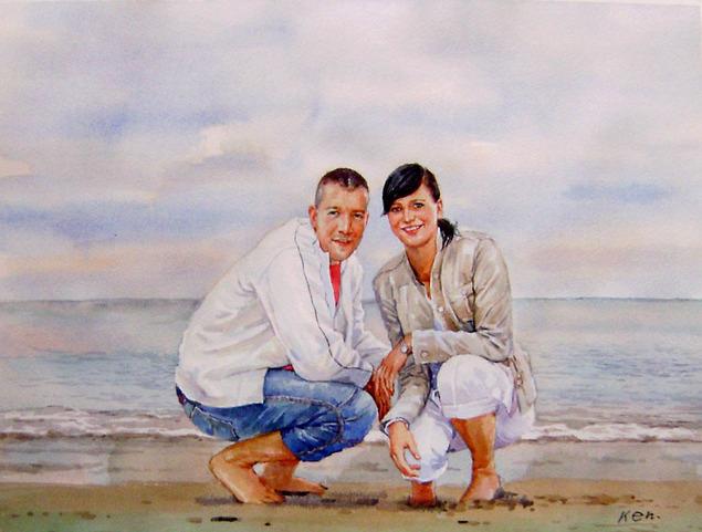 Gemälde von einem Pärchen am Strand