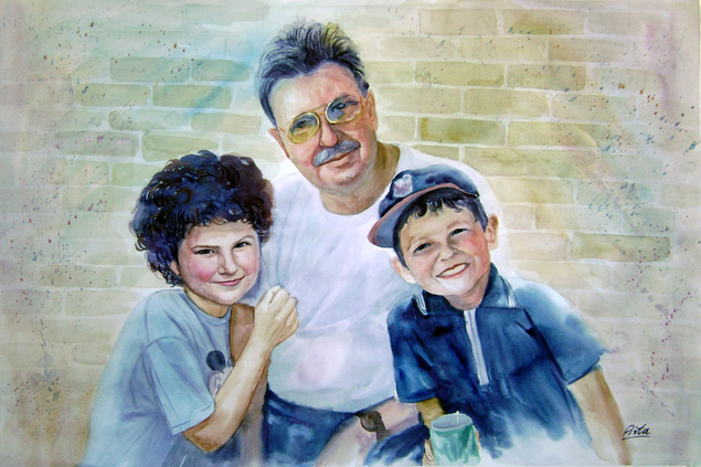 custom watercolor painting of family day out