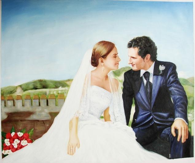 foto de la boda como la pintura al óleo