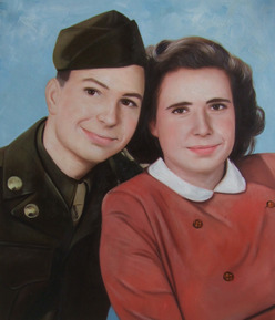 oil vintage painting of a couple