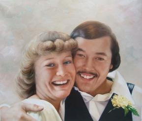 paint your picture vintage oil portrait of couple
