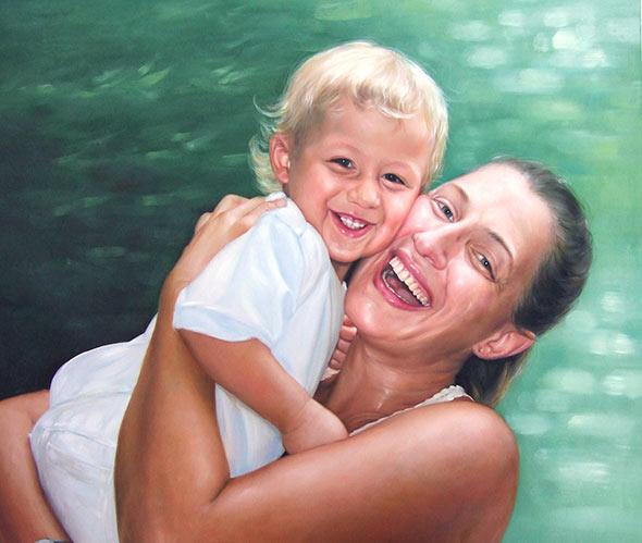 Gemälde einer Mutter mit Kind