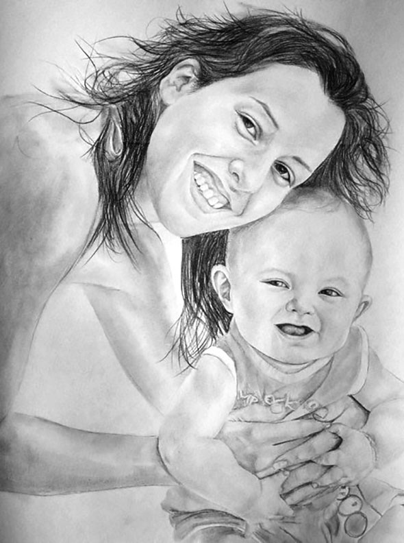 Mamma e bambino matita nera da fotografia