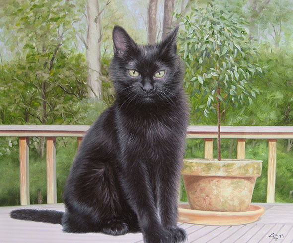 black cat outdoors oil painting