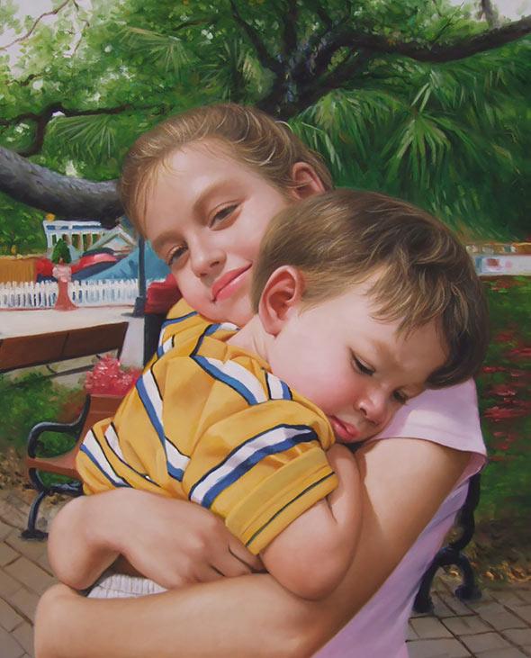 an oil painting of siblings hugging