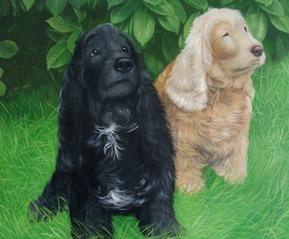 pittura di due cani