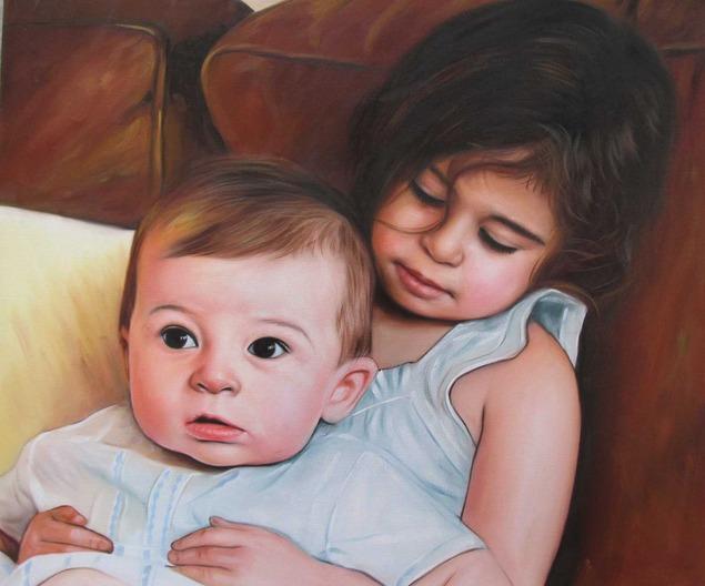 an oil painting of siblings