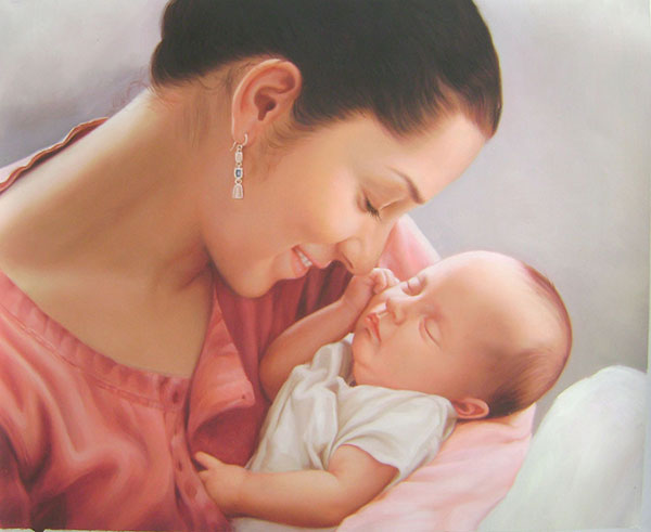 oil portrait of mother and her baby
