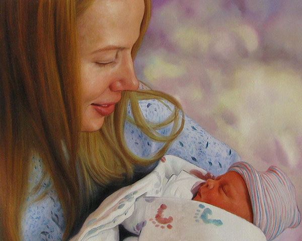 a custom oil portrait of mother holding a newborn